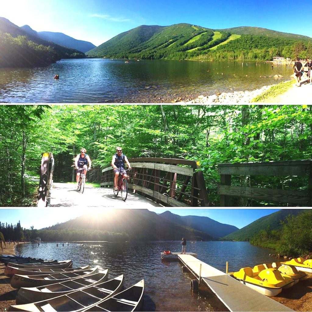 Three images showing the lake, people biking, and boats ashore at Franconia Notch State Park in the White Mountains near Rabbit Hill Inn