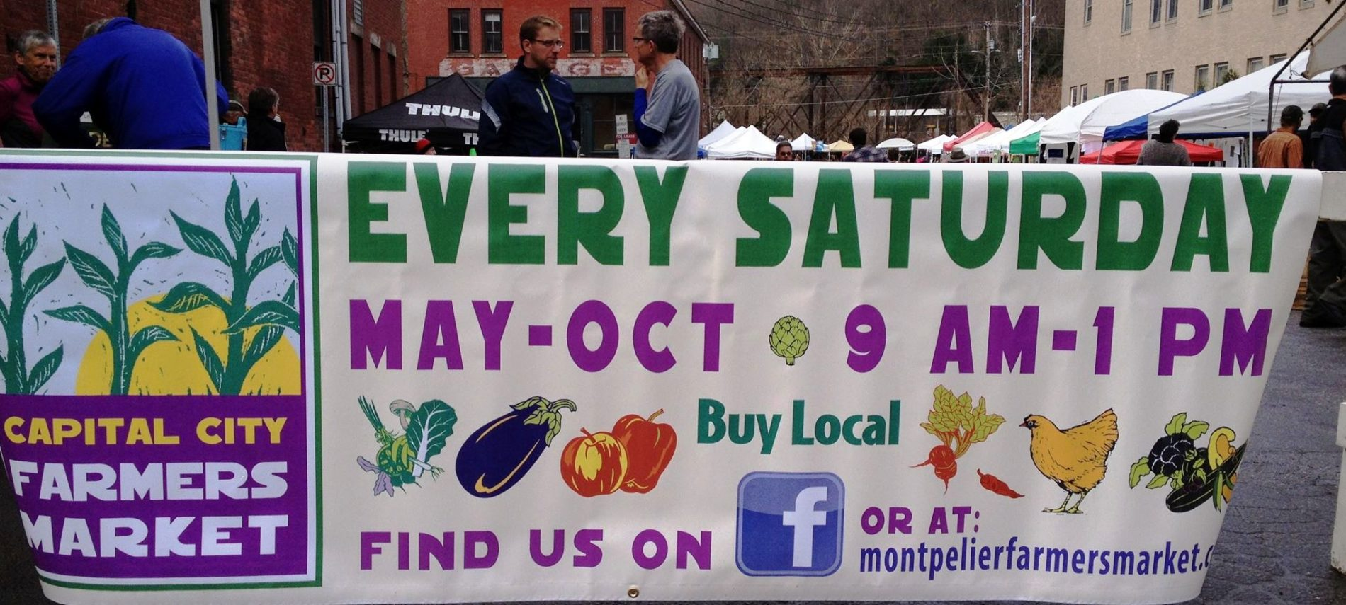 large banner sign at Farmers markets in Northern Vermont