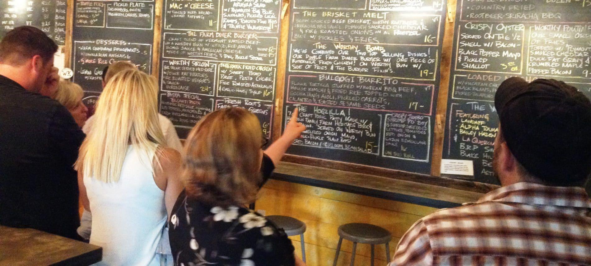 Worthy Kitchen chalkboard menu