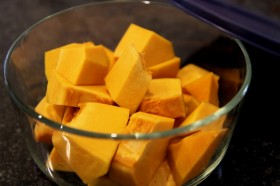 diced pumpkin for pumpkin soup