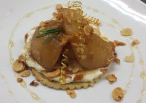 Rabbit Hill Inn dessert recipes Caramelized Pears – maple seared pears, rosemary shortbread, mascarpone, almonds, vanilla