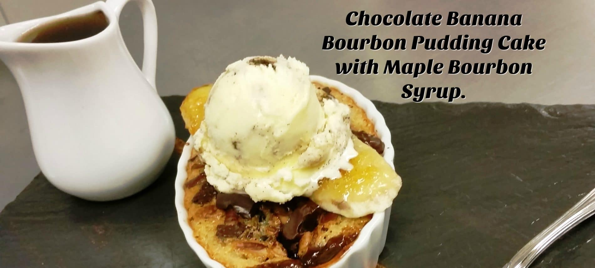 Chocolate Banana Bourbon Pudding cake recipe from Rabbit Hill Inn