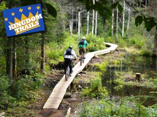 two people on Biking trails at Kingdom Trails Burke Vermont