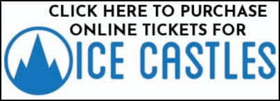 a sign to click here to purchase tickets for the Ice castles attraction in New Hampshire