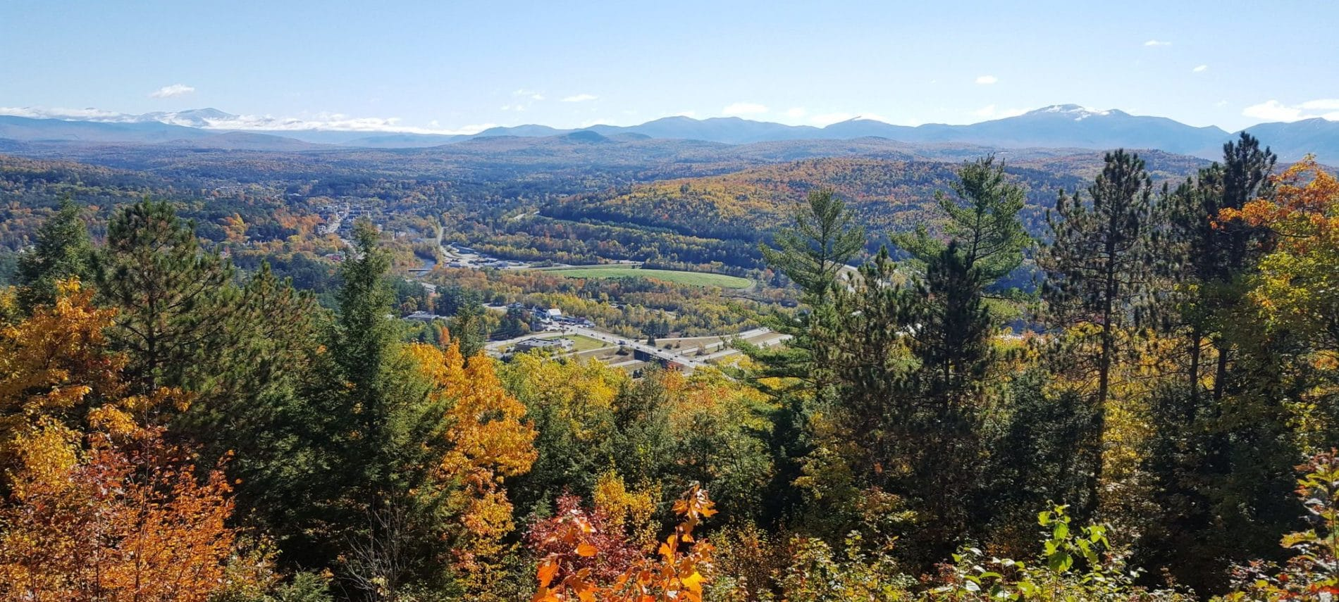 Mountain view and wooded terrain at the Kilburn Crags hiking Trails in Littleton New Hampshire