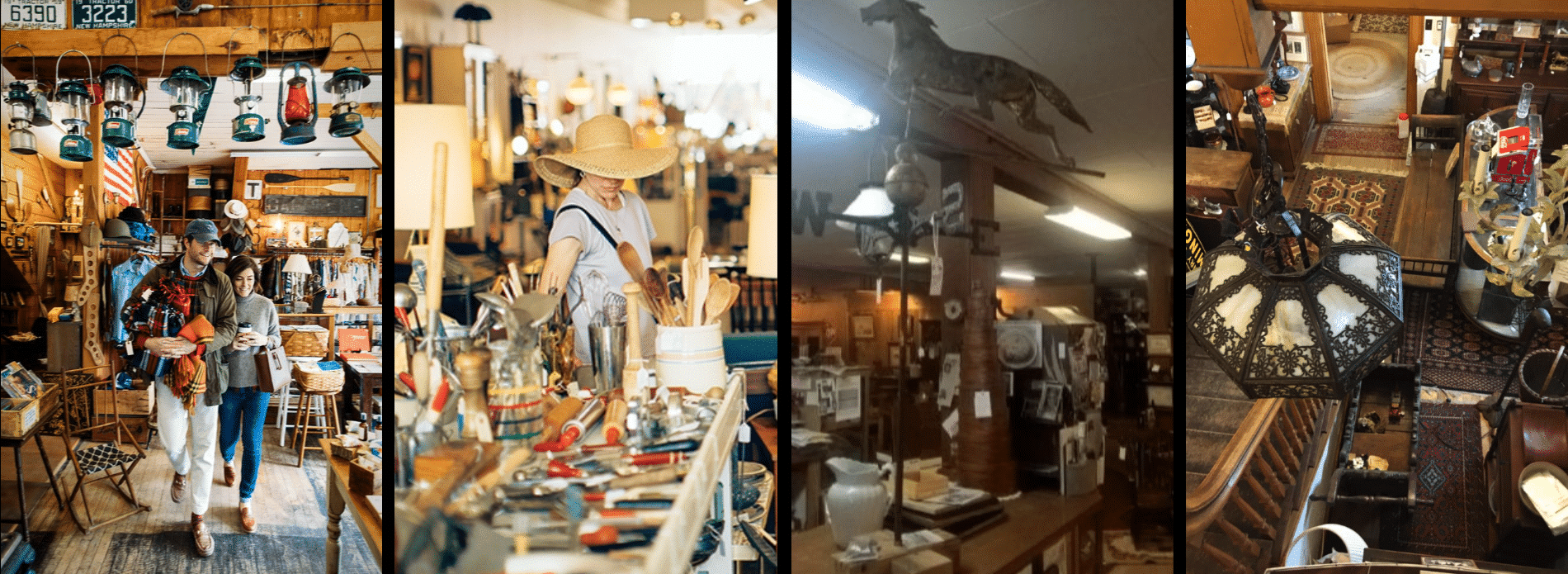 four images of people shopping in antique stores