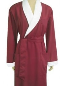 red robe with white collar and belt