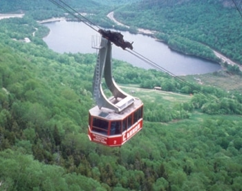 cannon mountain tram riding up the mountain