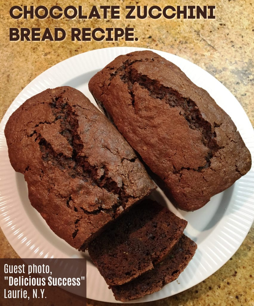 two loaves of chocolate zucchini bread on a white plate
