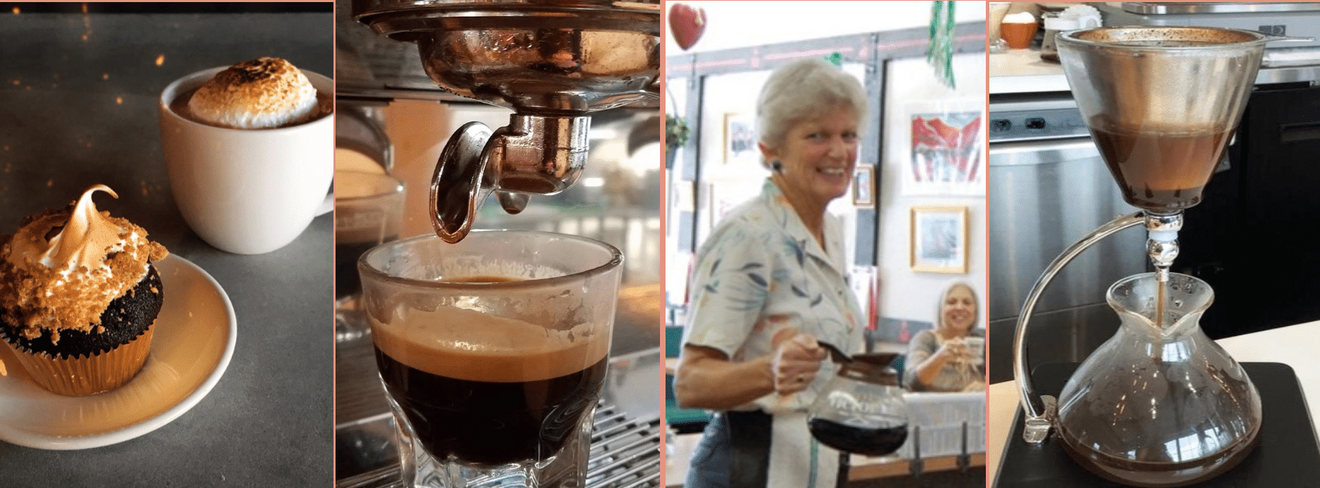 coffee being brewed and served by a lady wearing an apron