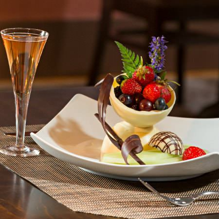 White chocolate and fruit dessert with a cordial at the Rabbit Hill Inn Restaurant