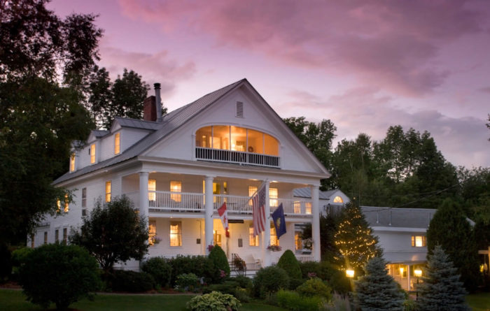 rabbit Hill inn at dusk under a purple sky