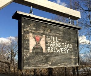 wooden sign at Hill Farmstead Brewery in Vermont