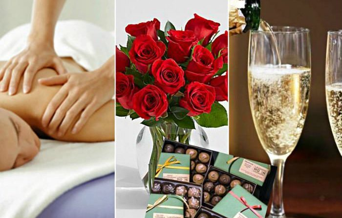 woman being massages, roses and chocolates, and 2 glasses of champagne being poured