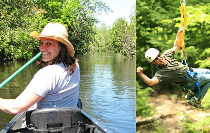 two images of gal paddling a canoe and a man swinging from a zip line