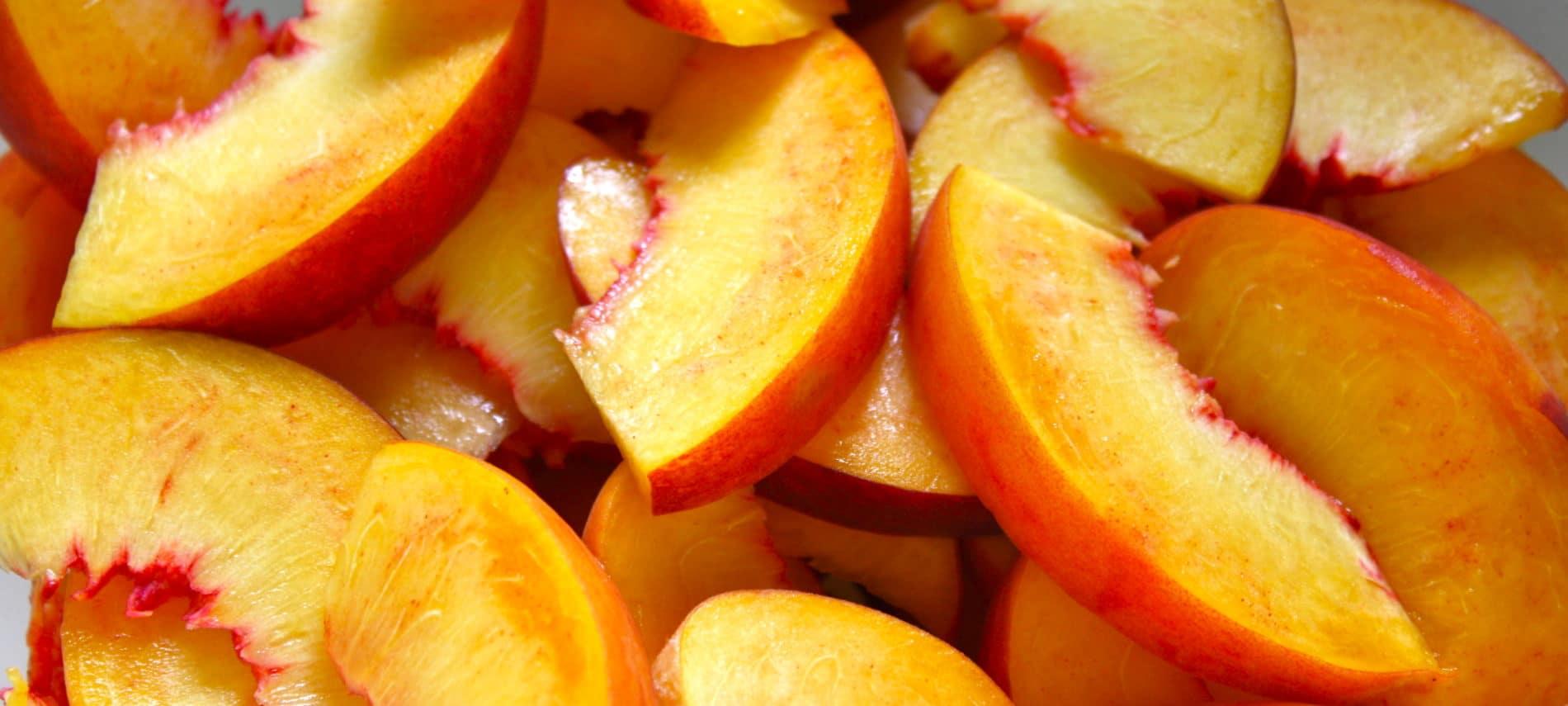sliced peaches for peach BBQ sauce recipe.