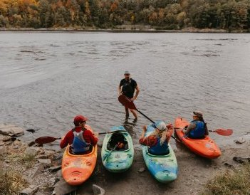 group of kayakers on shore