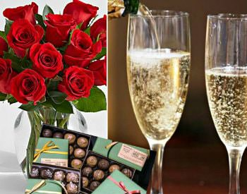 roses, chocolates, glasses of champagne