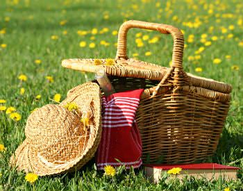 picnic basket on the grass with straw hat