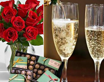 roses, chocolates, and glasses of champagne