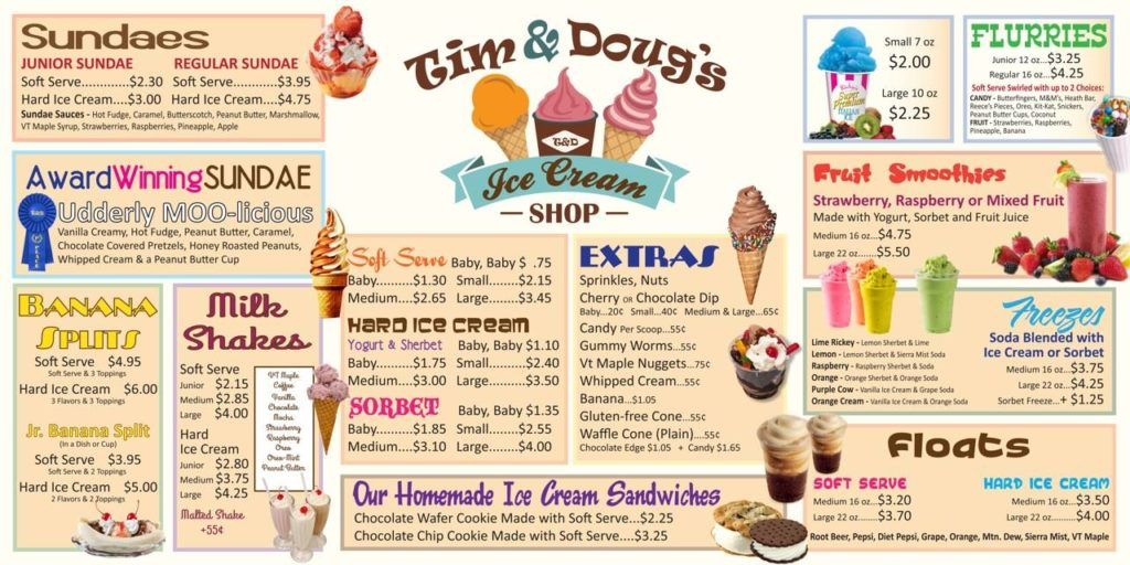 Tim & Doug's Ice cream shop menu