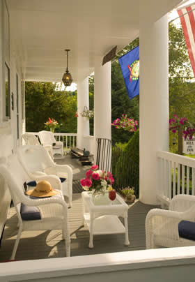 front porch of Rabbit Hill Inn in summer