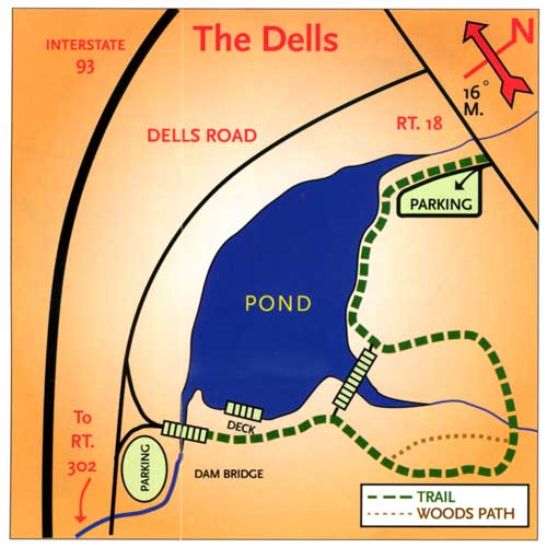 map of The Dells Park and Dells Nature Trail in Littleton New Hampshire